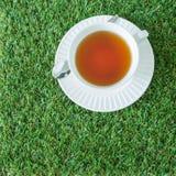 Una tazza bianca di tè con il cucchiaio d'argento sulle erbe verdi Fotografie Stock Libere da Diritti