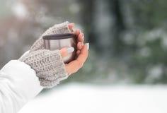 Una tazza con una bevanda calda nella foresta di inverno Fotografia Stock Libera da Diritti