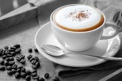 Una tazza della scena del cappuccino in bianco e nero immagine stock libera da diritti