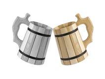 Una tazza di birra su un fondo bianco Fotografia Stock