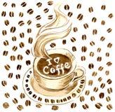 Una tazza di caffè caldo su un piattino, in un caffè caldo il ` del coffe di amore del ` I dell'iscrizione Royalty Illustrazione gratis