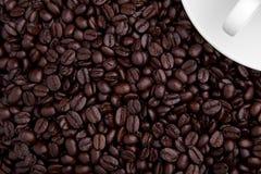 Una tazza di caffè con i fagioli Immagine Stock