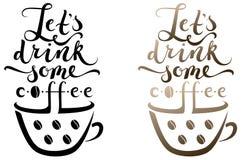 Una tazza di caffè con iscrizione sopra  Fotografia Stock