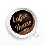 Una tazza di caffè con l'etichetta del caffè, vista superiore Immagine Stock Libera da Diritti