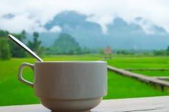 Una tazza di caffè con sfondo naturale Fotografia Stock Libera da Diritti