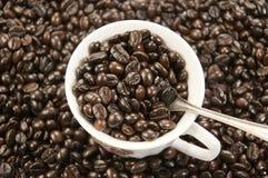 Una tazza di caffè e chicchi di caffè fotografia stock libera da diritti