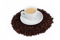 Una tazza di caffè sopra i chicchi di caffè fotografie stock libere da diritti