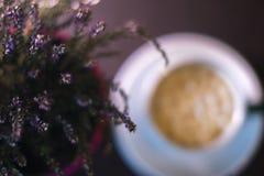Una tazza di caffè vicino ad una pianta in un vaso con un fondo vago Fotografia Stock