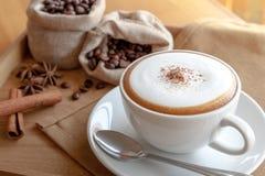 Una tazza di cappuccino con il cucchiaio Fotografie Stock Libere da Diritti