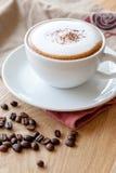 Una tazza di cappuccino ha completato con la polvere di cacao Fotografia Stock Libera da Diritti