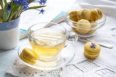 Una tazza di tè caldo, del bucaneve dei fiori, dello sketchbook e dei maccheroni blu del limone su un fondo leggero Fotografie Stock