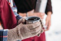 Una tazza di tè da un termos sull'inverno fa un picnic nel legno Immagini Stock Libere da Diritti