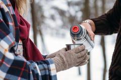 Una tazza di tè da un termos sull'inverno fa un picnic nel legno ` S della mano della donna in guanti caldi Fotografie Stock
