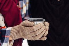 Una tazza di tè da un termos sull'inverno fa un picnic nel legno ` S della mano della donna in guanti caldi Fotografie Stock Libere da Diritti