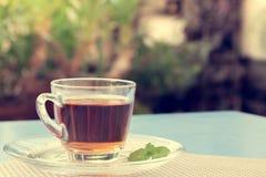 Una tazza di tè nel giardino Immagine Stock