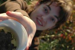 Una tazza di tè verde caldo! Fotografia Stock Libera da Diritti