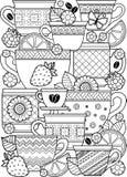 Una tazza di tisana per un buon giorno Libro da colorare per l'adulto Immagini Stock Libere da Diritti