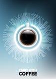 Una tazza realistica di caffè nero con il concetto del bottone e del microchip di potere ed il fondo elettronico futuristico di t Fotografia Stock