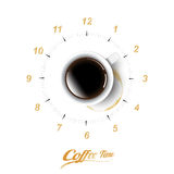 Una tazza realistica di caffè nero e la tazza di caffè macchiano con il concetto dell'orologio del caffè, vettore trasparente Immagine Stock Libera da Diritti