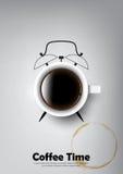 Una tazza realistica di caffè nero e la tazza di caffè macchiano con il concetto dell'orologio del caffè, vettore trasparente Immagini Stock