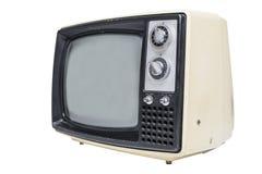 Una televisión del tubo vintage en el fondo blanco Fotos de archivo libres de regalías