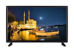 Una televisione a alta definizione moderna con l'immagine della notte q Fotografia Stock