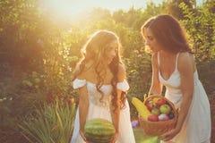 Una tenuta di due sorelle nel raccolto delle mani Immagine Stock