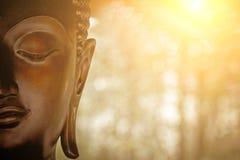 Una testa della statua di Buddha Fotografie Stock