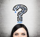 Una testa di signora castana che sta pensando alla soluzione dei problemi Un punto interrogativo come labirinto Immagini Stock Libere da Diritti