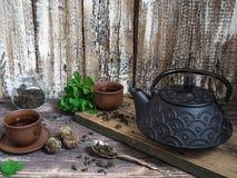 Una tetera negra con té verde y una taza para el té al lado de una puntilla de la menta Fotografía de archivo libre de regalías