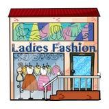 Una tienda de la moda de las señoras Imágenes de archivo libres de regalías
