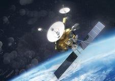 Una tierra que está en órbita por satélite ilustración del vector