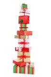 Una torre de los regalos de la Navidad Imagen de archivo