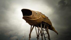 Una torre dell'allerta sotto forma di un pesce Fotografie Stock Libere da Diritti