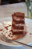 Una torta de chocolate doble restante Imagen de archivo libre de regalías