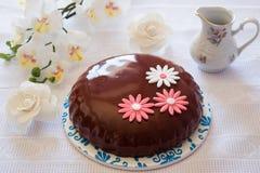 Una torta de la crema batida para el desayuno Fotografía de archivo