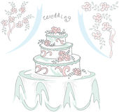 Una torta di cerimonia nuziale Immagini Stock Libere da Diritti