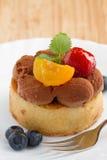 Una torta di cioccolato con le bacche e i fruts Immagine Stock Libera da Diritti