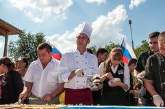 Una torta en la forma de la bandera de Rusia Imagen de archivo libre de regalías
