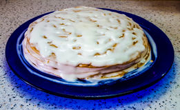 Una torta hecha en casa deliciosa Torta con crema de vez en cuando homemade Fotos de archivo libres de regalías