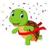 Una tortuga que compite con a la meta stock de ilustración