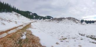 Una traccia in neve Immagini Stock Libere da Diritti