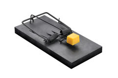 Una trappola nera del topo isolata su bianco Fotografie Stock Libere da Diritti