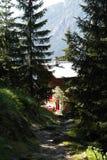 Una trayectoria de la montaña rocosa que se acerca a un refugio de la montaña a través de bosque en Mont Blanc Foto de archivo libre de regalías