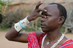Una tribu del masai en Kenia Imagenes de archivo