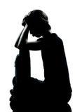 Una tristeza que pone mala cara del adolescente de la muchacha joven del muchacho Foto de archivo