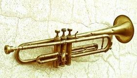 Una tromba antica a partire dagli anni 20 ora è appesa su una parete Fotografie Stock Libere da Diritti