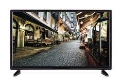 Una TV ad alta definizione con l'immagine della via della città Fotografia Stock Libera da Diritti
