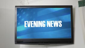 Una TV que exhibe el mensaje sobre el Evening News ilustración del vector