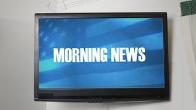 Una TV que exhibe el mensaje sobre las noticias de la mañana stock de ilustración